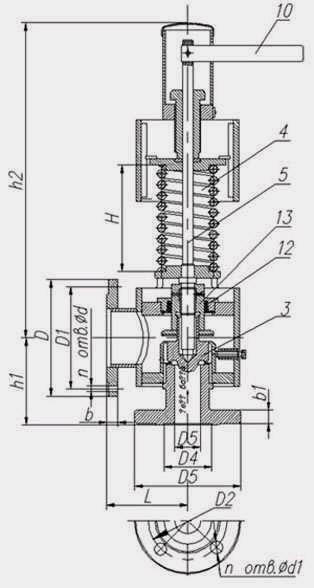 Клапан предохранительный пружинный с демпфером угловой, Рр 3,5 - 4,5