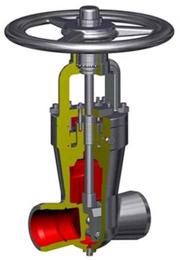 Задвижка клиновая двухдисковая сальниковая с цилиндрическим зацеплением